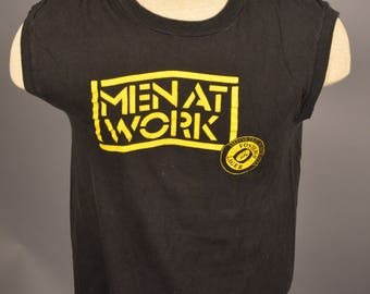 Vintage Men At Work Concert Tour T Shirt 1980'S Tank Top FOSTERS BEER SMALL