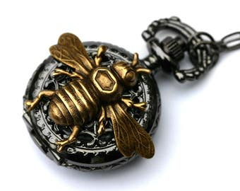 Bee Pocket Watch Mens Necklace
