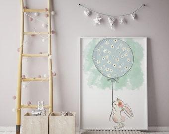 Bunny Prints | Rabbit Prints | Balloon Prints| wall art | rabbit wall art | individual print