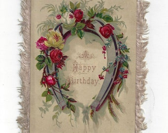 Vintage Victorian Fringed Double-Sided Happy Birthday Greeting Card, 1840-1900