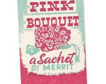 Vintage Merrit Pink Bouquet Sachet Label, 1940s