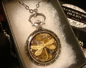 Clockwork Dragonfly Steampunk Pocket Watch Pendant Necklace -Made with Real Watch Parts (2265)