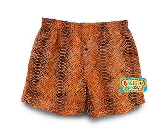 Mens Boxers Snake Skin, Mens Boxer Short, Orange Mens Underwear, Gift Boxers Orange, Mens Shorts