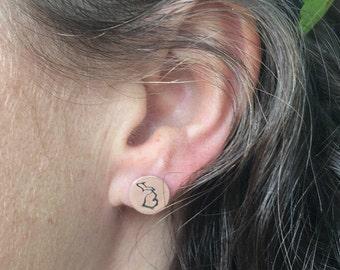 Sterling Silver Michigan Stud Earrings