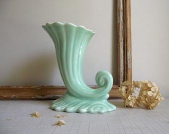 Cornucopia Vase , Mid Century Vase , Green Ceramic Planter , Horn of Plenty Vase, Vintage Decor , Wedding Centerpiece , Mothers Day Gift