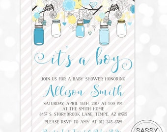 Mason Jars Baby Shower Invitation Baby Boy Invite Blue Yellow Floral Boy Baby Shower Invitation Mason Jar DIY Printable Invite PDF (#170)