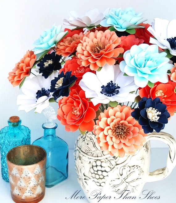 Handmade Paper Flowers - Paper Flowers - Gaarden Party  - Stemmed Flowers - Bridal Shower - Table Centerpiece - Set of 24 - Made To Order