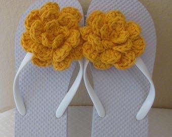 Flip Flops, White Flip Flops, Women's Size Small 5 - 6