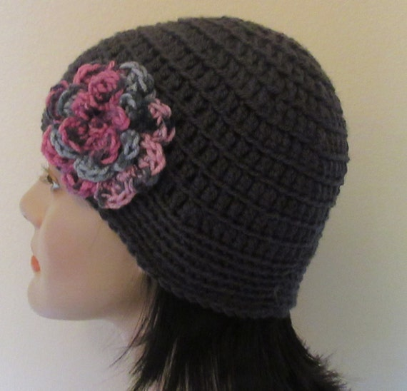 Reserved for Trish Grey Beanie with Attached Pink Black and Grey Flower, Cold Weather Hat, Grey Cloche, Grey Flapper Hat, Fashionable Beanie