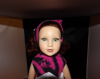 Fashionable fleece headband & scarf set in pink print for 18 inch dolls - ag262