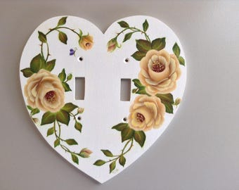 YELLOW ROSES DOUBLE Heart shaped Light Switch Plate - floral switchplate