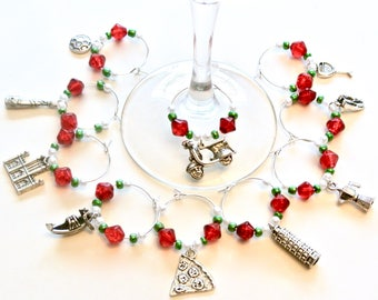 Italy Wine Glass Charms- 10 Italian Wine Glass Tags with Red, White, Green Beads, World Traveler, Glassware Accessories, Italian Flag Colors