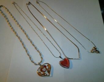 Vintage Mix Lot, 4 Costumes Neck, Mix Lot, assorted Hearts Pendant, Cz Rhine Stone, Gems