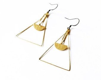 Sadie* Dangle triangle half dome earring