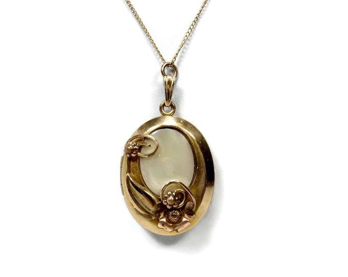 Vintage Louis Stern Gold Filled Mother of Pearl Locket