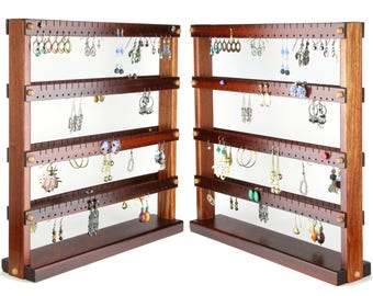 192 Pair Bloodwood Double Sided Earring Holder, Jewelry Display, Earring Organizer.  Large Wooden Earring Display, 2-Sided Jewelry Organizer