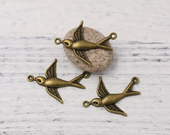 6 pcs Antiqued Bronze Tone Swallow Bird Connector Charm Pendant Drop