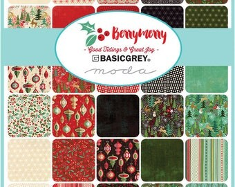 "Moda Berry Merry Charm Pack, (42) 5"" Quilt Fabric Squares by Basic Grey Quilting Sewing NEW"