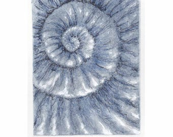 Original ammonite fossil zinc etching no.88 with mixed media jurassic Dorset coast fossil spiral fossil ammonites golden section