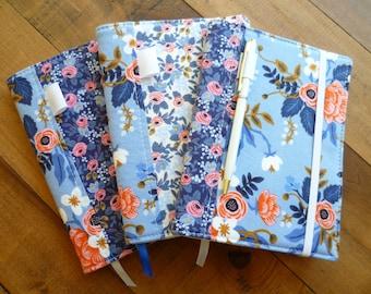 Mini Notebook / Journal Cover - Rifle Paper Co. Les Fleurs. Floral. Birch Periwinkle. Rosa Navy.