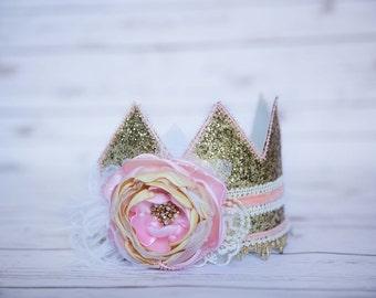 Birthday Crown - First Birthday Crown - Baby Girl Birthday Crown Hat - Gold Baby Girl Crown - Princess crown - Cake Smash Photo Prop