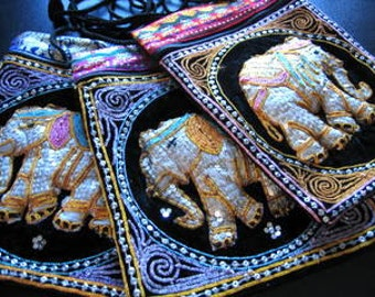 ONE Large Elephant Velvet Sequined Pouch for Cards COINS or CRYSTALS