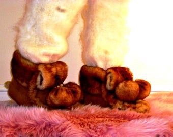 Sheepskin Slippers, Shearling Fur High Top Moccasins, Womens Tall Moccasins, Fur Moccasins, Fur Slippers, Warm Fur Slippers, Funky, Hippie