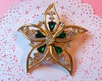 Vintage Gold Tone Star with Emerald Green and Clear Rhinestones  Pin Brooch