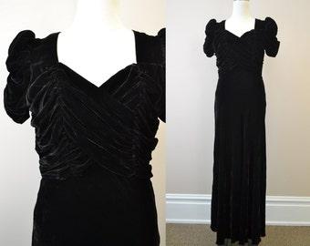 1940s Black Velvet Evening Gown