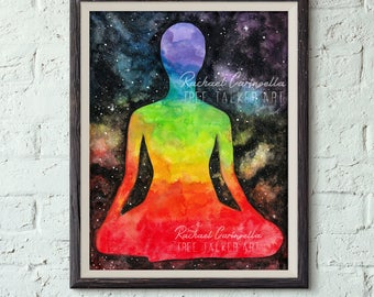 Giclee art print -Chakra Galaxy Painting - Meditation Art- Tree Talker art - Rainbow  Galaxy art