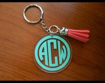 Monogrammed personal circle Acrylic key chains