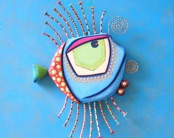 Fish Wall Art, MADE to ORDER, Blue Walleye, Original Found Object Wall Sculpture, Painted Sculpture, Wall Decor, by Fig Jam Studio