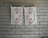 dresser mats one pair embroidered mat floral mats shabby decor cottage chic planter mat vintage embroidery placemats 14 x 10 inch