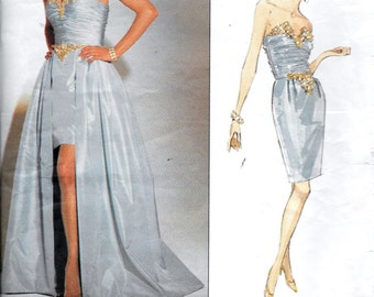 Vintage Vogue 2805 Bellville Sassoon Designer EVENING DRESS Strapless Gown Sewing Pattern UNCUT Size 12, 14 and 16