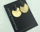 Hammered Brass Cut out Disk Earrings
