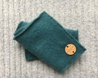 Cashmere Earwarmer Headband PEACOCK GREEN Unisex Ear Warmer Head Band Upcycled Cashmere Sweater Gift for Him or Her Under 20 by WormeWoole