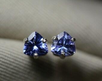 Tanzanite Earrings, Tanzanite Stud Earrings 1.62 Carat Appraised 891.00, Sterling Silver Tanzanite Jewelry, Trillion Cut