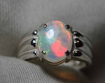 Opal Ring, 1.49 Carat Solid Opal Cabochon Solitaire Ring Appraised at 450.00, Real Opal Jewellery, Sterling Silver, October Birthstone