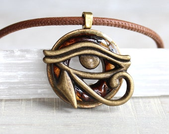 brown eye of horus necklace, mens jewelry, all seeing eye, mens necklace, unique gift, Egyptian god, Egyptian symbol, The Wadjet, mens gift