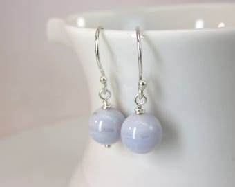 Blue lace agate earrings - single agate bead earrings - sterling silver earrings - light blue gemstone earrings - minimalist earrings