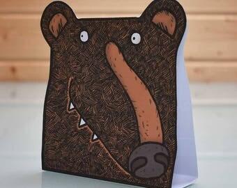 3D Black Bear Card - folding popup blank inside, bear greeting card, brown bear card, wildlife card, wild animal card, grizzly bear card