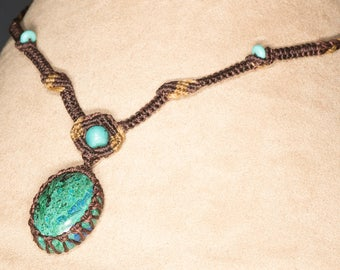 Macrame Necklace with Chrysocolla