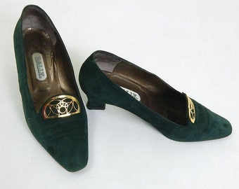 Vintage 1960s Bally Green Suede Block Heels Size 6 wide