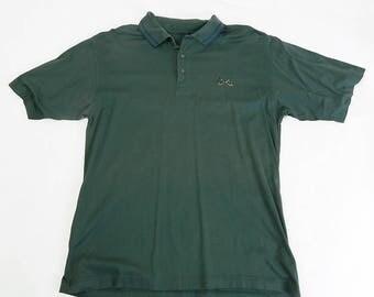 Men's 1970s Vintage Green Izod Polo Shirt Size Medium