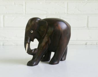 Vintage Carved Wood Elephant - Wooden Elephant Figurine Animal - Global Bohemian Decor