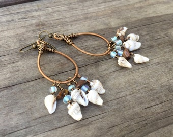 GUITAR STRING EARRINGS -  seashell earrings - bronze, shell, brown and light blue - for teens and adults - recycled/eco-friendly - under 25