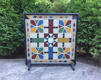 """25"""", Parcheesi, Game Board, Folk Art, Wood, Hand Painted, Primitive, Game Boards, Wooden"""