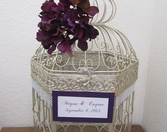 XL Bling Hexagonal Birdcage- Wedding card holder