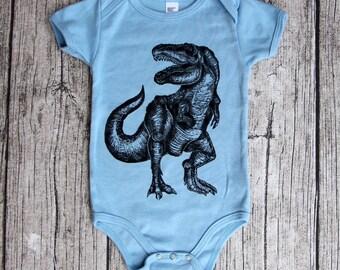 T Rex Dinosaur Baby One Piece, dinosaur block print, baby dinosaur, unique baby gift, baby boy, pink dinosaur, girl dinosaur, new baby gift