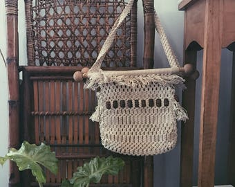 SALE 1970s Framed Macrame Purse with Wooden Beads and Fringe